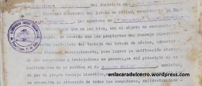 (Detalle del Acta de la Agrupación Social Organizada. 1934. Foto: M.S.)