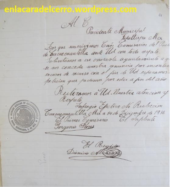 (Carta de renuncia de los Comisarios de Cuecuecuautitla. Foto: M.S.)