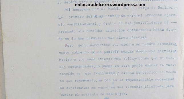(Solicitud de licencia del regidor Dionicio Castillo, 1934. Foto: M.S.)